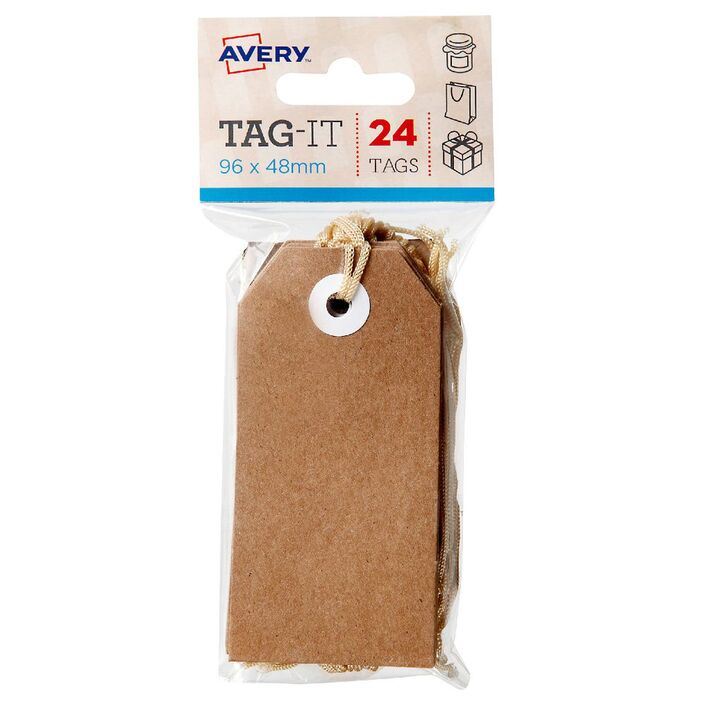avery tag it with string 96 x 48mm kraft brown 24 pack officeworks