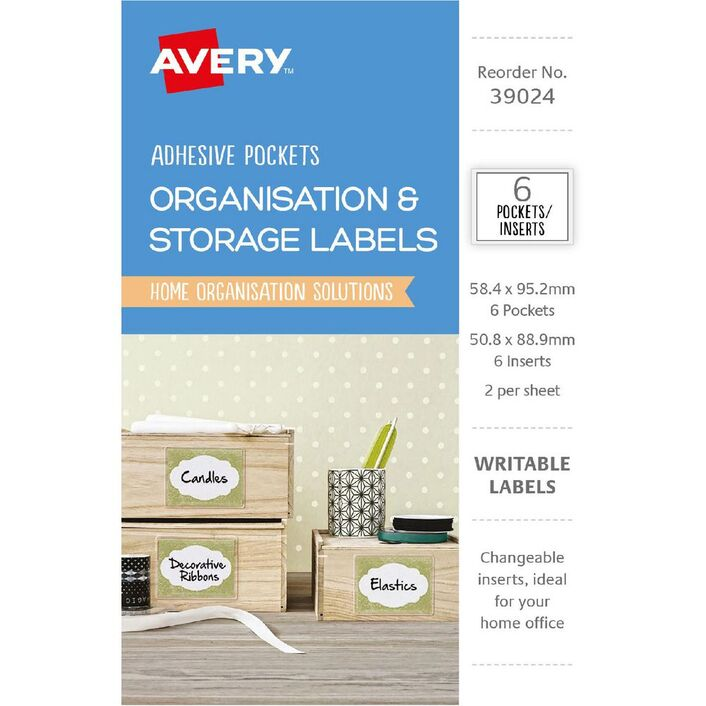 avery clear adhesive pockets with white inserts 6 pack officeworks