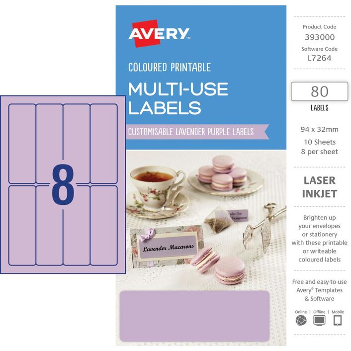 avery rectangle labels 94 x 32mm lavender 80 pack officeworks