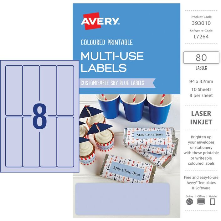 avery rectangle labels 94 x 32mm sky blue 80 pack officeworks