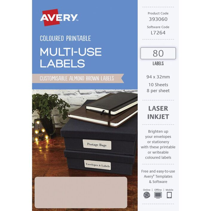 avery rectangle labels 94 x 32mm almond 80 pack officeworks