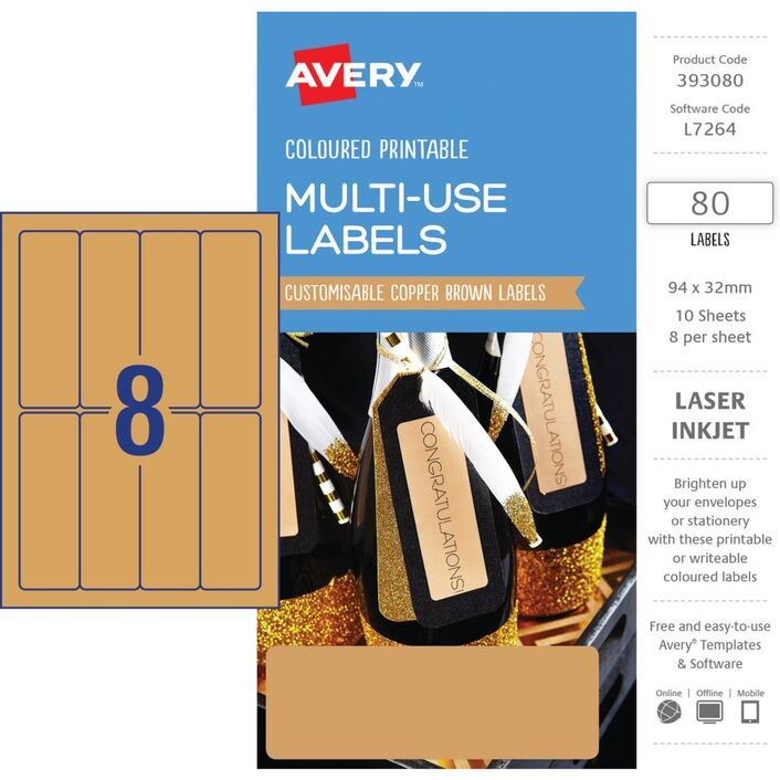 avery rectangle labels 94 x 32mm copper brown 80 pack officeworks