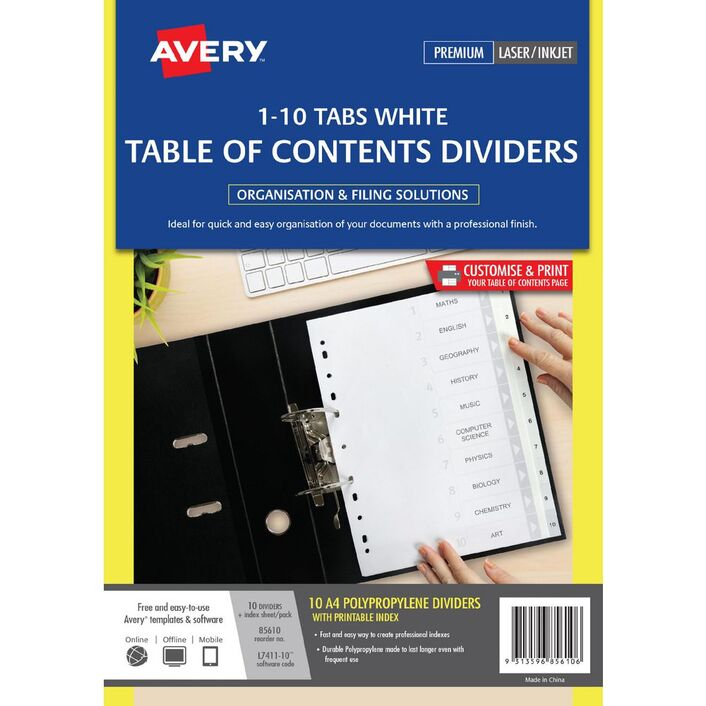 Avery Polypropylene A4 Printed Tabs Dividers 1 10 White Officeworks
