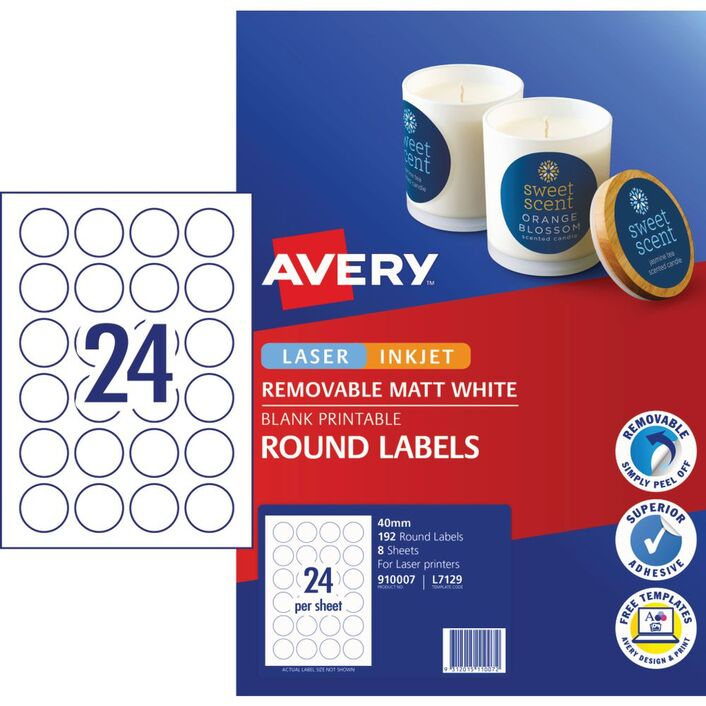 Avery Matte White Round Pricing Labels 40mm 192 Pack Officeworks