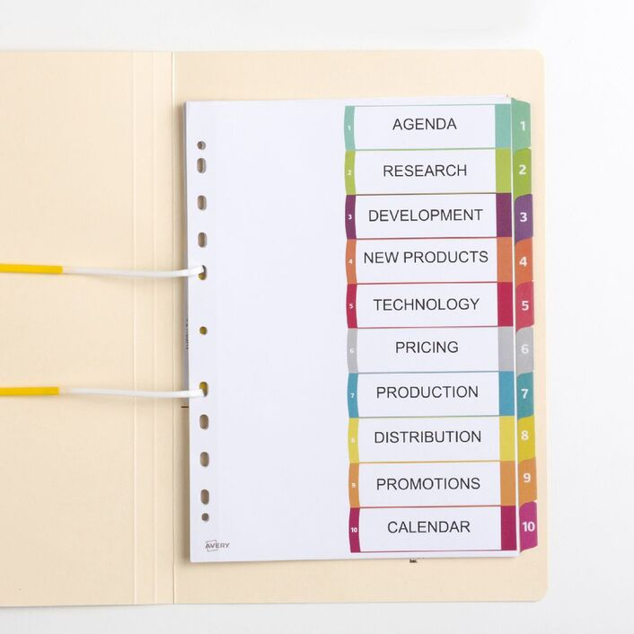 Avery Table Of Contents Dividers 1 10 Tabs