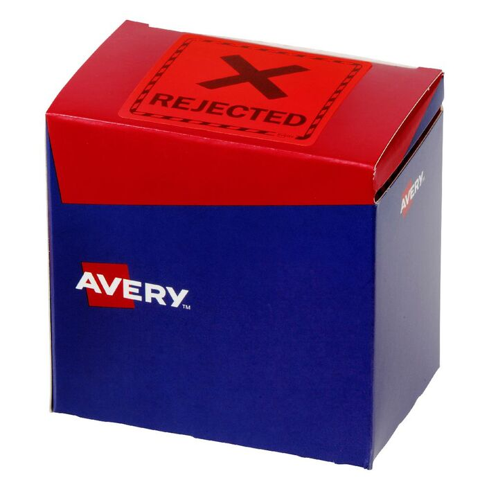avery rejected labels 75 x 76 2 mm red officeworks