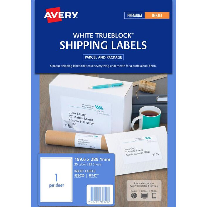avery shipping labels white 1up 25 sheet officeworks