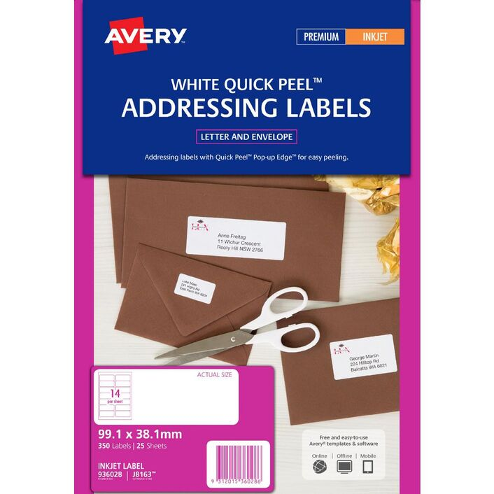 Avery Address Labels White 14 Up 25 Sheet Officeworks