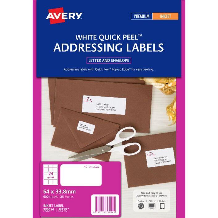 avery inkjet labels white 64 x 33 8mm 25 pack officeworks