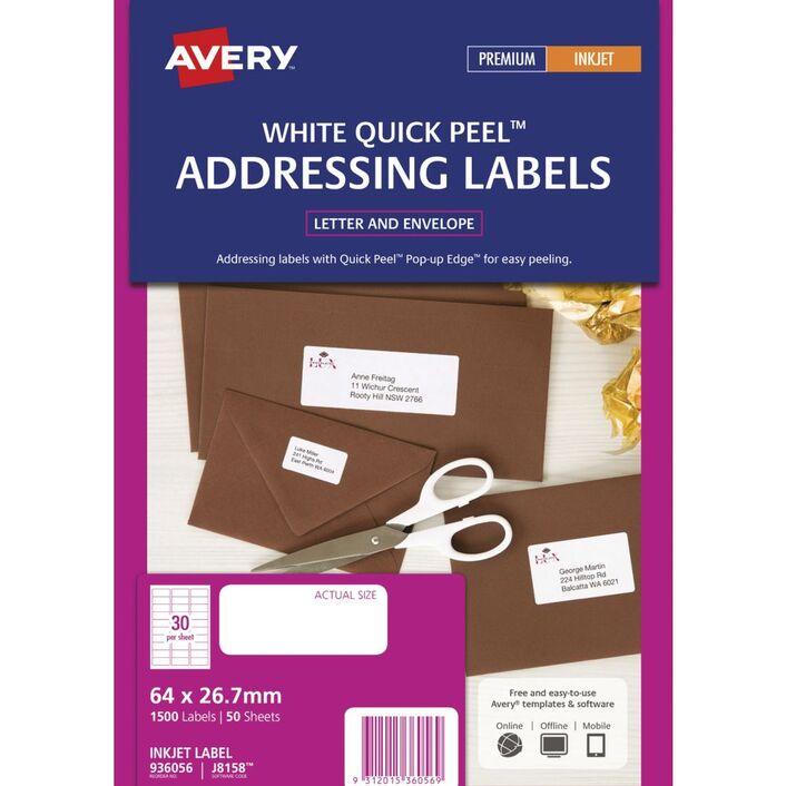 avery mini inkjet address labels white 50 sheets 30 per page