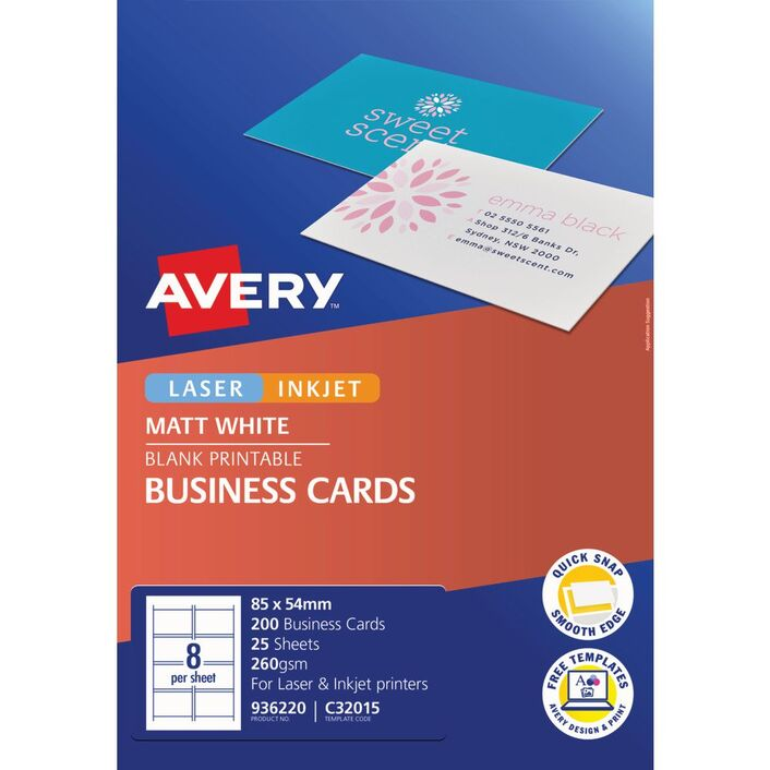 Avery Business Cards Matt Photo Sheets 200 Pack | Officeworks