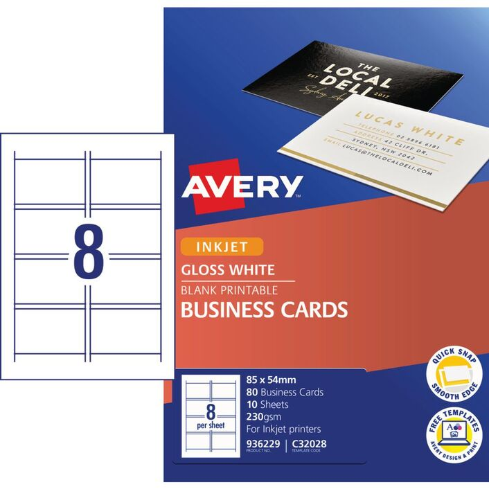 Avery Business Card Starter Kit 250gsm Glossy 80 Pack | Officeworks