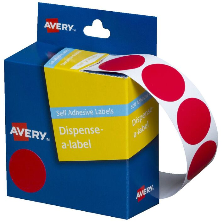 Avery self-adhesive Round Labels Red 24mm 500 Pack | Officeworks