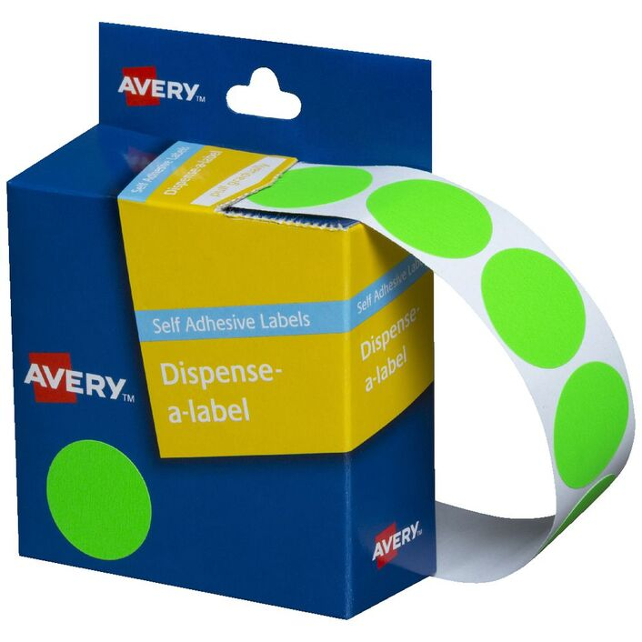 Avery Self-adhesive Round Labels Fluro Green 24mm 350 Pack | Officeworks