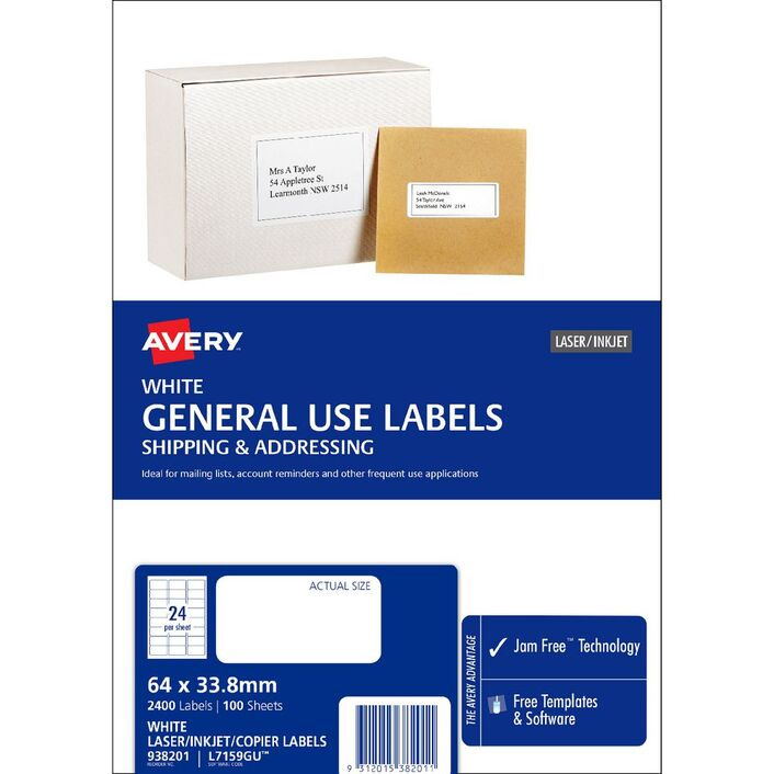 Avery general use labels white 24 up 100 sheet officeworks avery general use labels white 24 up 100 sheet reheart Choice Image