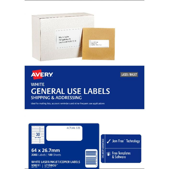 Avery General Use Labels White 30 Up 100 Sheet Officeworks