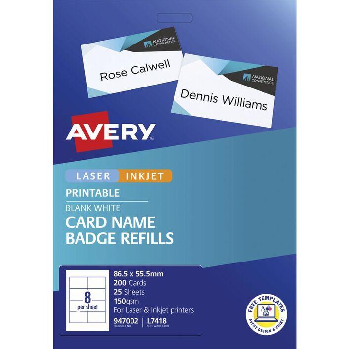 avery name badge refill cards 200 pack officeworks