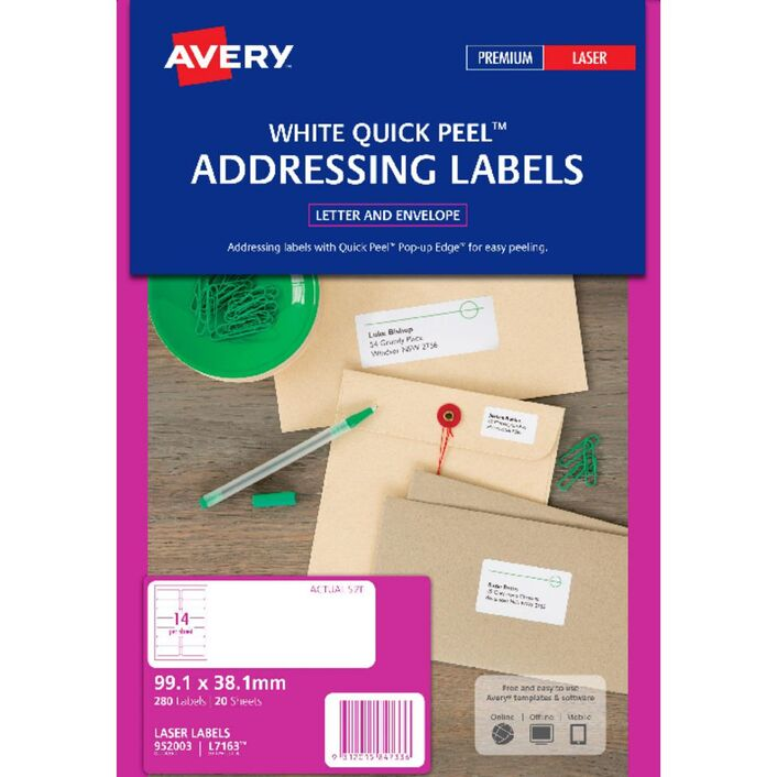 avery laser address labels white 20 sheets 14 per page officeworks