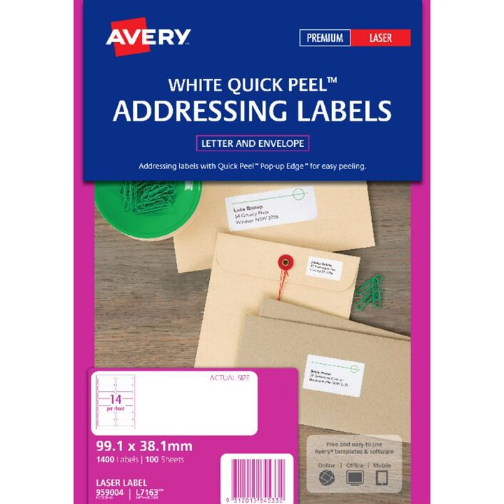 Avery Laser Address Labels White 100 Sheets 14 Per Page Officeworks