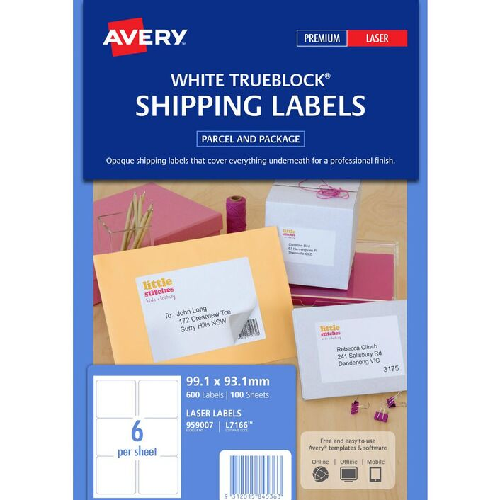avery laser shipping labels 6up 100 sheets officeworks