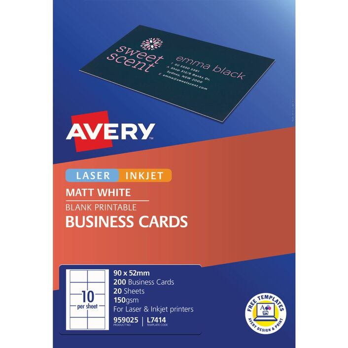 Avery business cards white 20 sheets 10 per page officeworks avery business cards white 20 sheets 10 per page reheart Image collections
