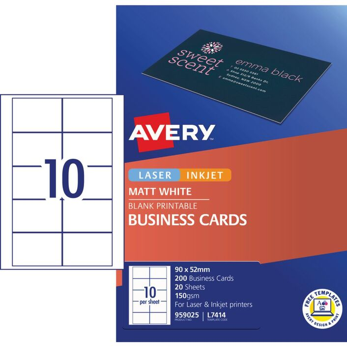 Avery business cards white 20 sheets 10 per page officeworks avery business cards white 20 sheets 10 per page reheart Images