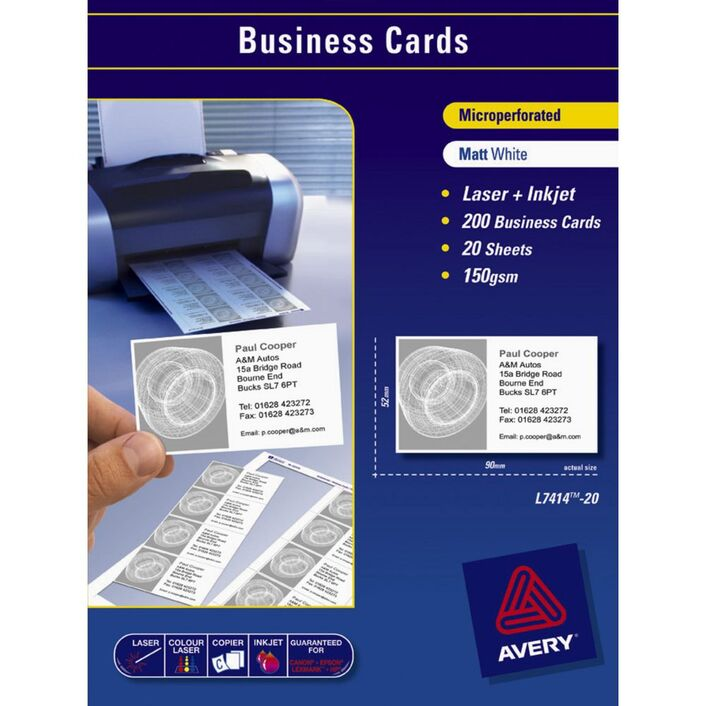 Avery Business Cards White 20 Sheets 10 Per Page | Officeworks