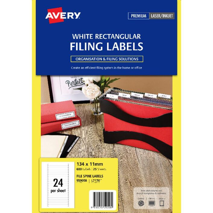 avery fine spine filing labels white 25 sheets 24 per page officeworks
