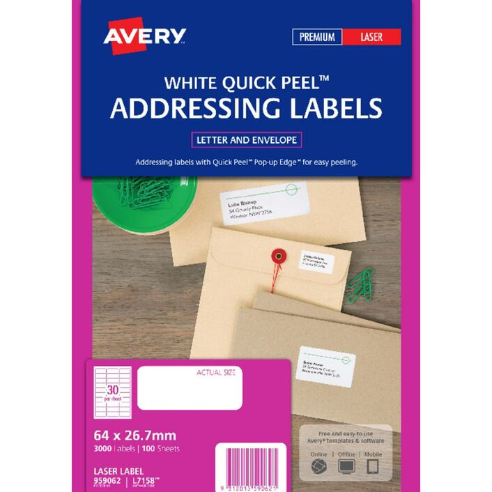 Avery Laser Small Address Labels White 100 Sheets 30 Per Page