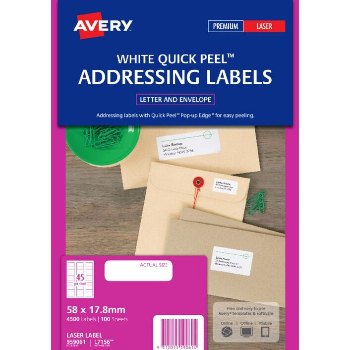 Avery Laser Address Labels White 100 Sheets 45 Per Page Officeworks
