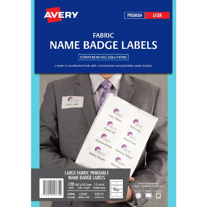 avery fabric laser name badge labels 15 sheets 8 per page officeworks