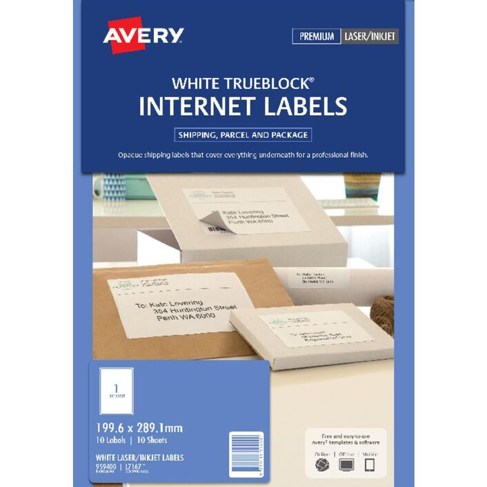 avery internet shipping labels 1 per page 10 pack officeworks