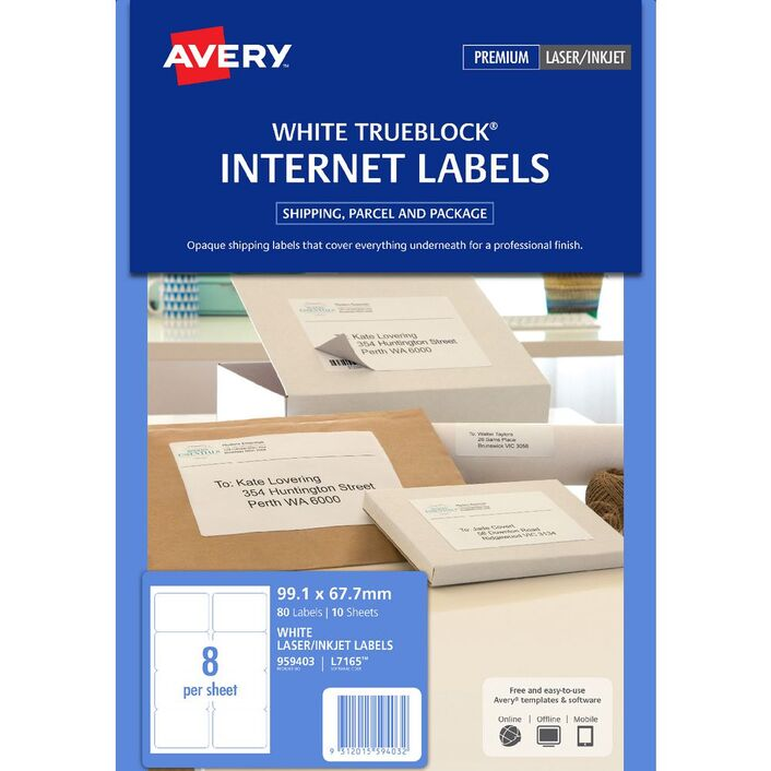 avery internet shipping labels 8 per page 10 pack officeworks