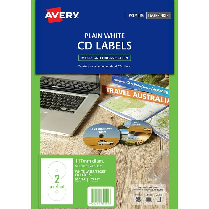avery laser cd labels white 25 sheets 2 per page officeworks