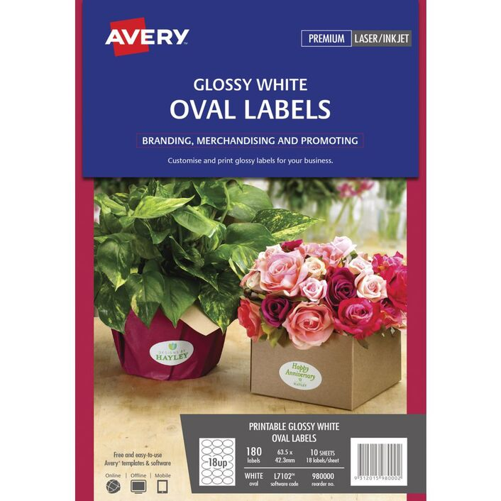 Avery Print To The Edge Oval Labels Glossy White 180 Pack Officeworks