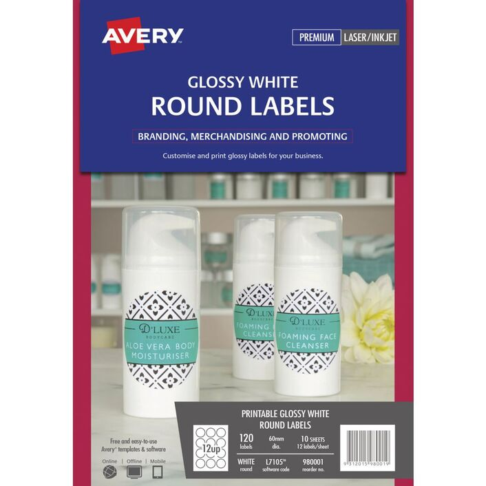 Avery Print To The Edge Round Labels Glossy White 120 Pack Officeworks