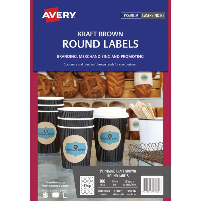 Avery print to the edge round labels kraft 180 pack