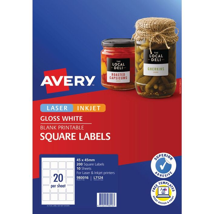avery square labels 45 x 45mm white 200 pack officeworks