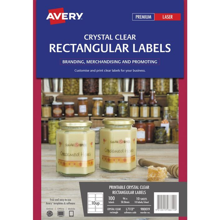 Avery Crystal Clear Rectangle Labels Transparent 100 Pack Officeworks