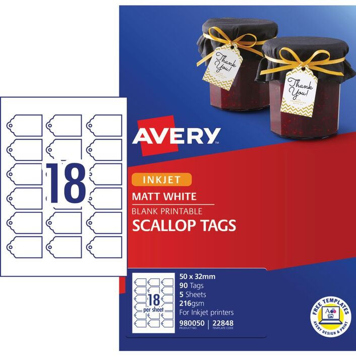avery printable scallop pricing tags 50 x 32mm 90 pack officeworks