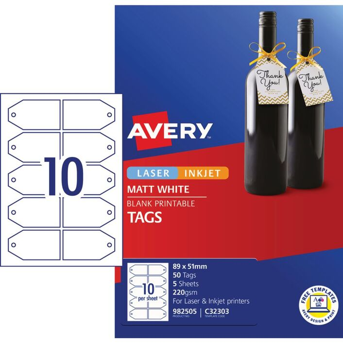 Avery Gift Tags 89 X 51mm 50 Pack Officeworks