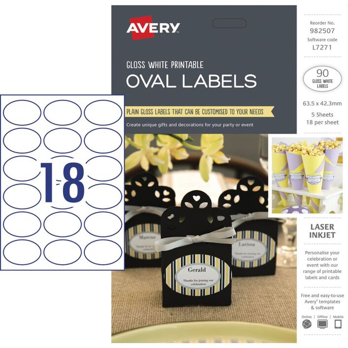 Avery Gloss Oval Labels 635 X 423mm 90 Pack Officeworks