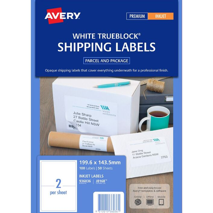 avery mailing labels 50 sheets 2 per page white officeworks