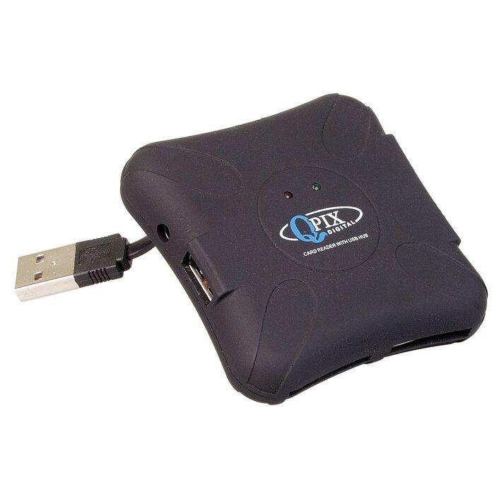 QPIX Multi Card Reader and USB Hub | Officeworks