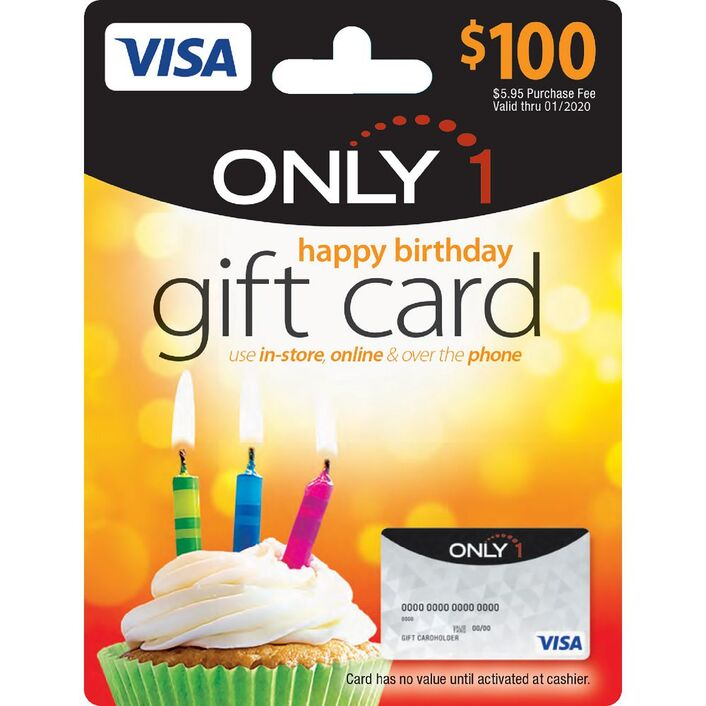 Visa Only 1 Gift Card Birthday 100 Officeworks