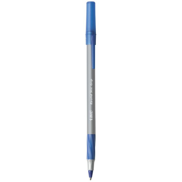 bic round stic comfort grip ballpoint pens blue 10 pack officeworks