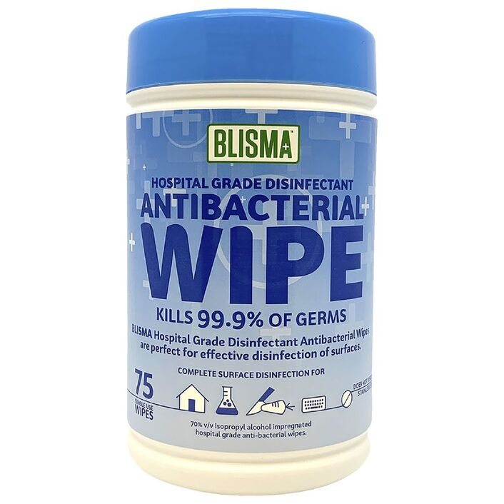 blisma hospital grade anti bacterial wipes 75 pack officeworks