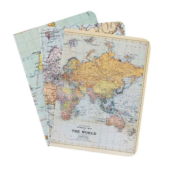 Cavallini mini notebook world maps 3 pack officeworks cavallini mini notebook world maps 3 pack gumiabroncs