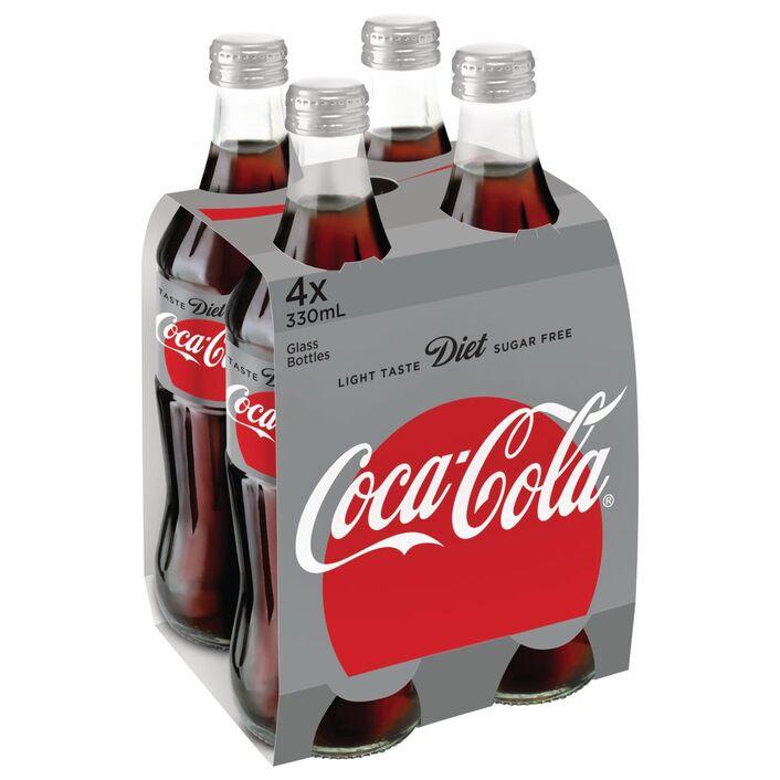 Diet Coca-Cola Glass Bottles 330mL 24 Pack   Officeworks