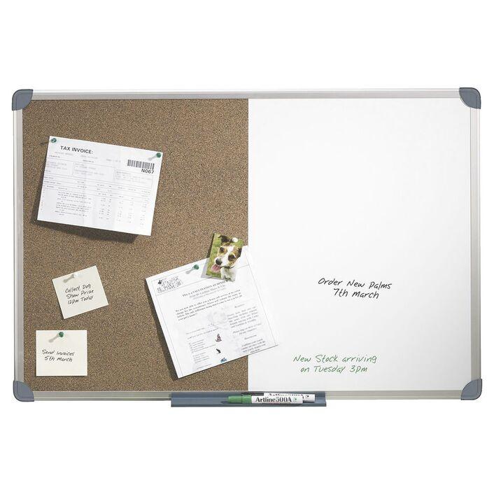 Quartet Aluminium Frame Combination Board 900 x 600mm | Officeworks